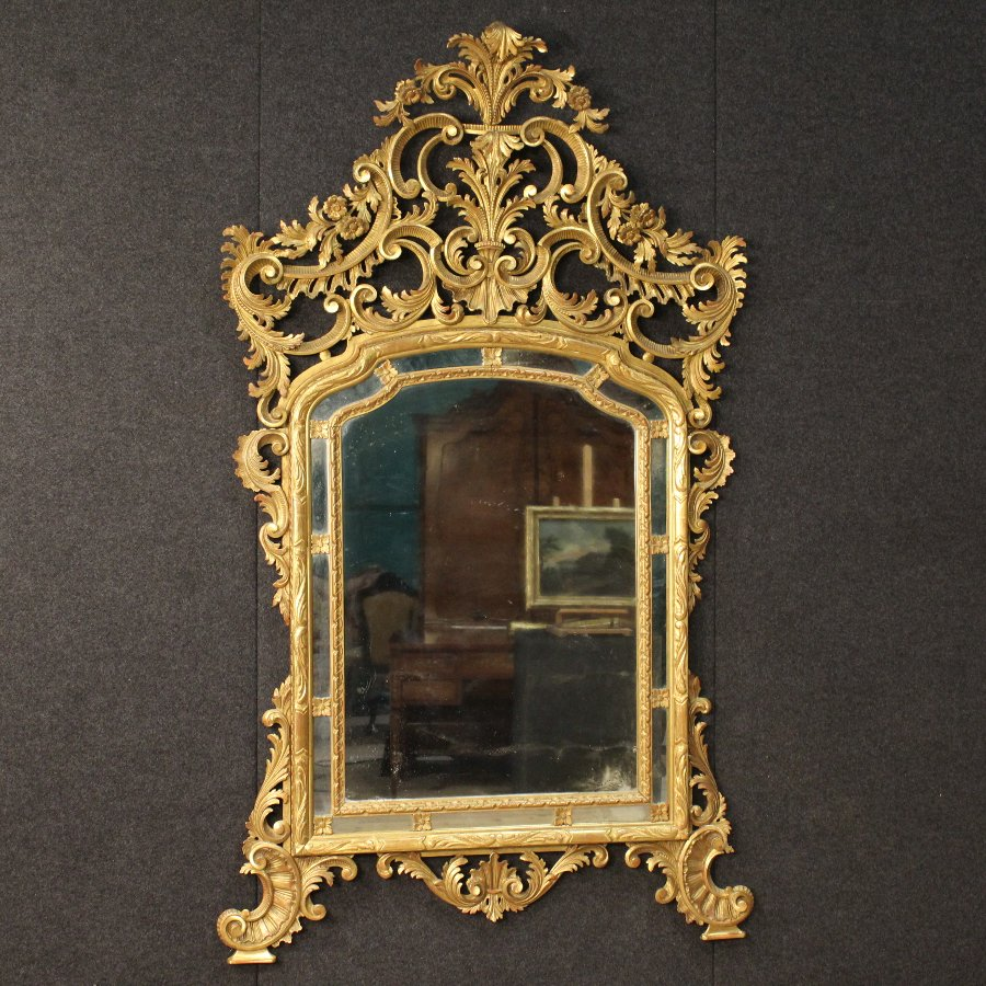 Italian gilded mirror in Louis XV style of the 20th century