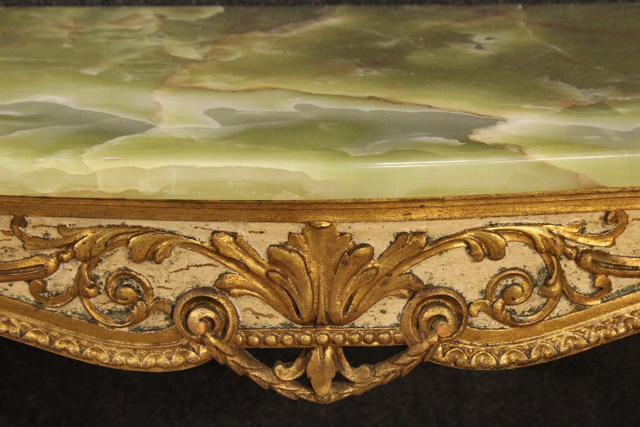 Antique Lacquered and gilded Italian console table with onyx top  of the 20th century