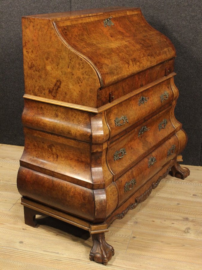 Antique Dutch bureau made by burl walnut of the 20th century