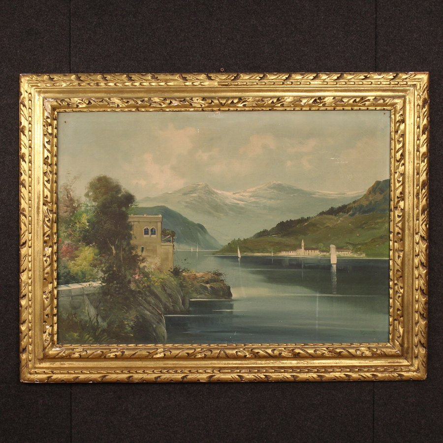Great Italian painting depicting Lake Como landscape of the 20th century