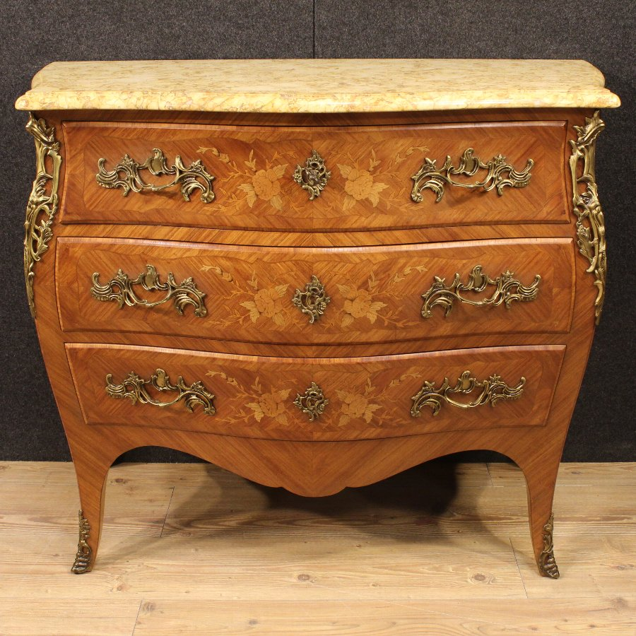 Antique French inlaid dresser with marble top
