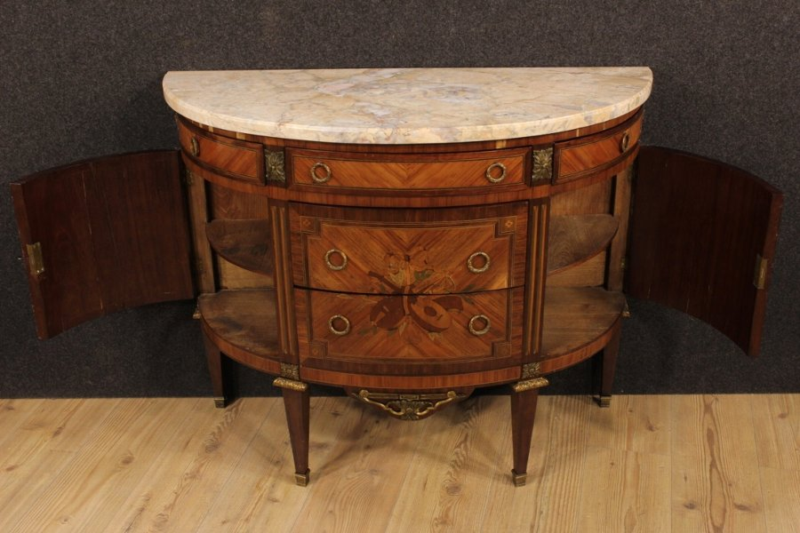 Antique French inlaid demi lune dresser of the early 20th century