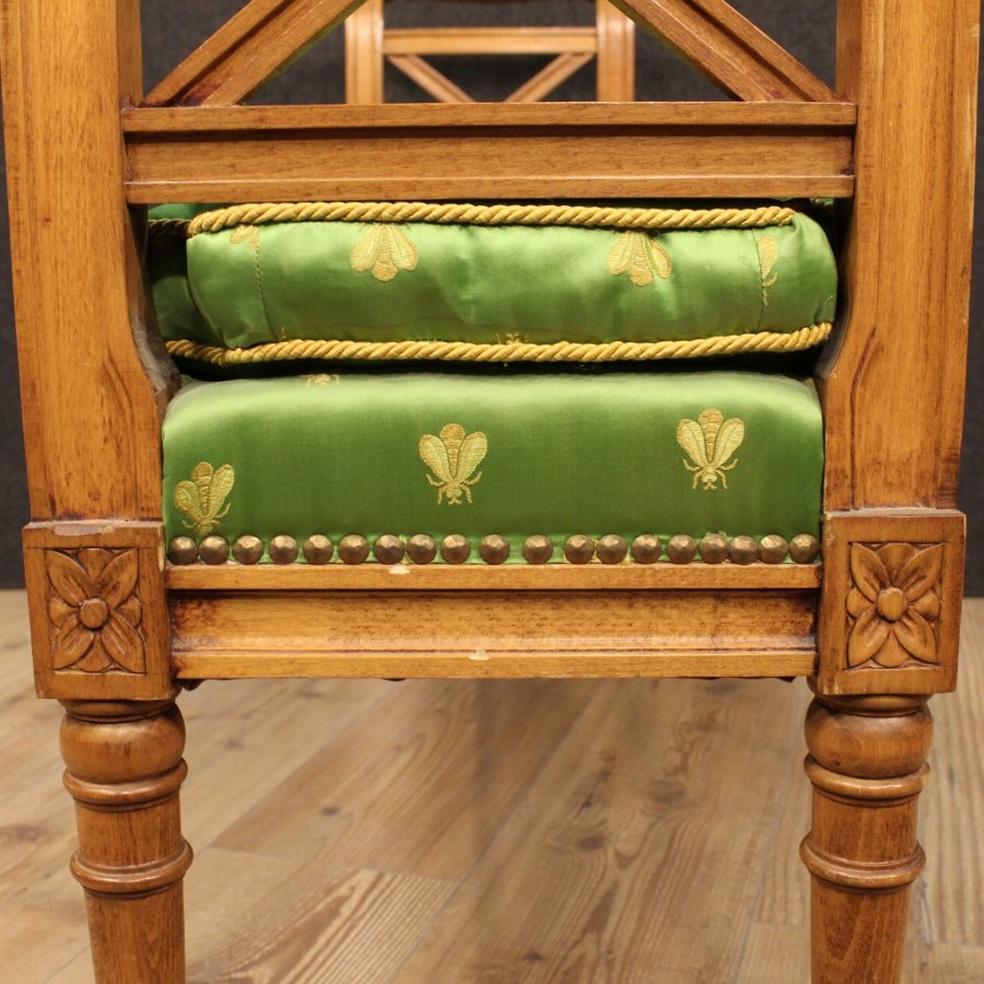 Antique French bench with fabric cushion
