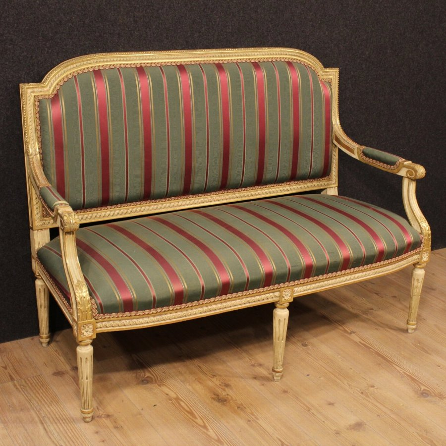 Italian lacquered and gilded sofa in Louis XVI style
