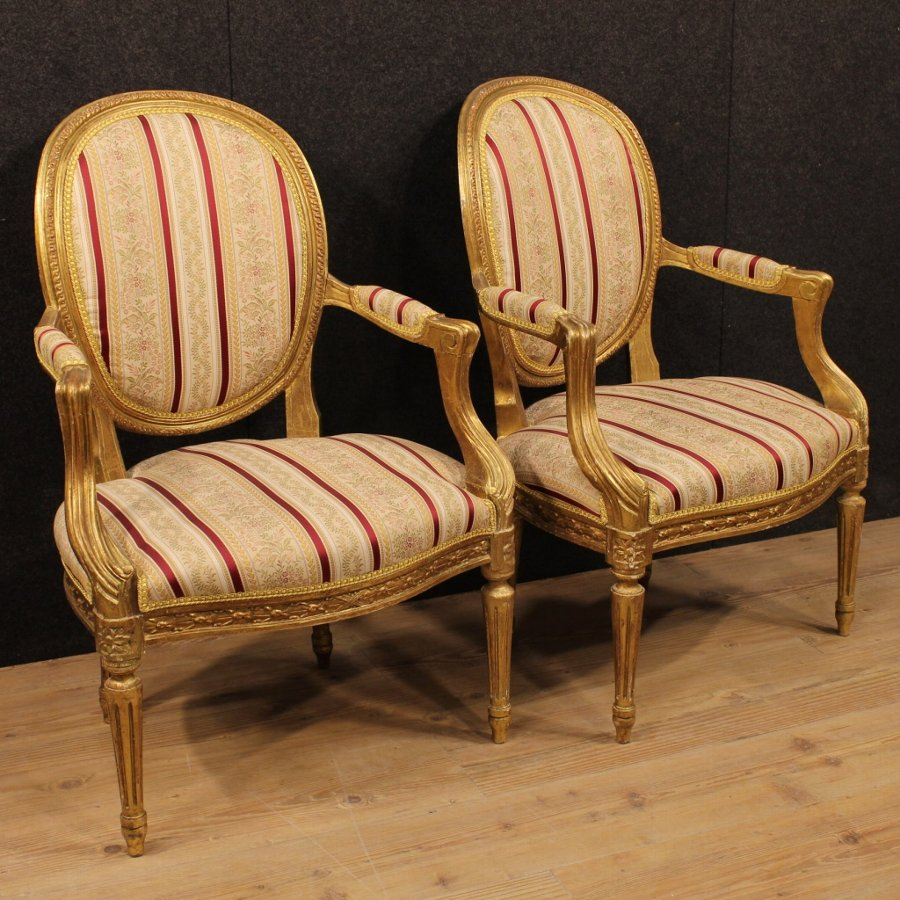 Pair of Italian gilded armchairs