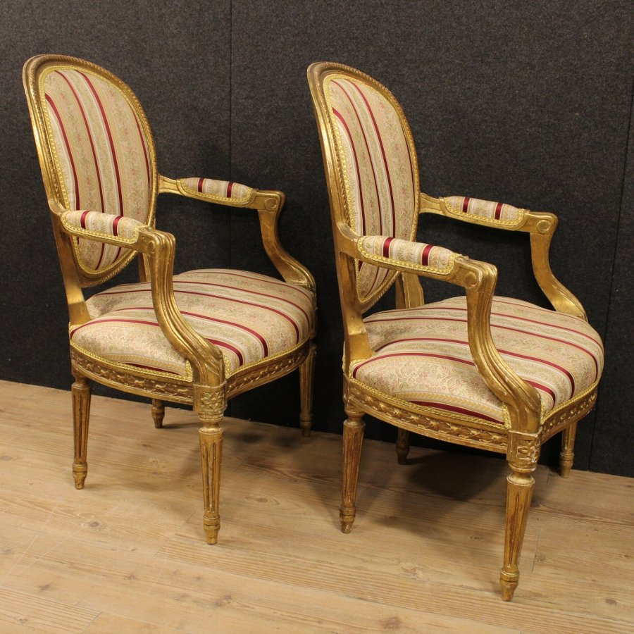 Antique Pair of Italian gilded armchairs