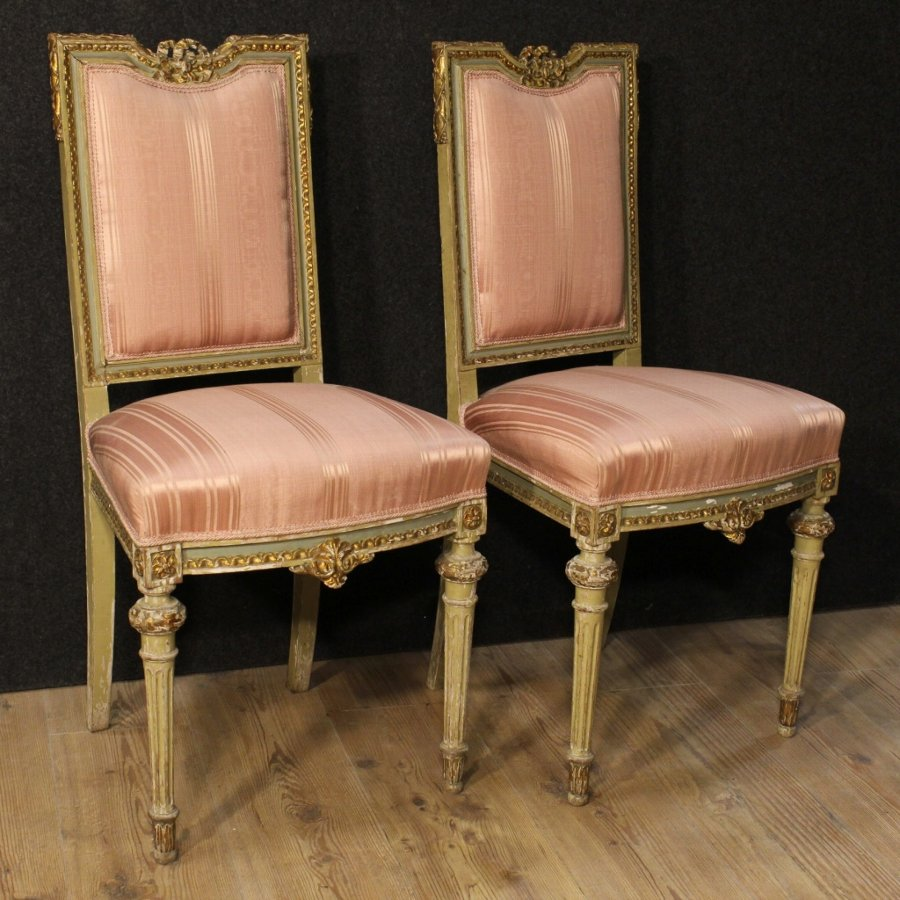 Pair of lacquered and gilded Italian chairs
