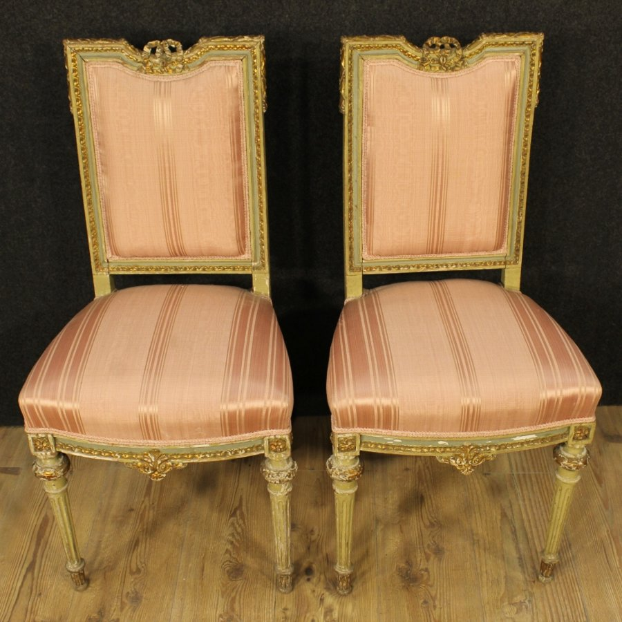 Antique Pair of lacquered and gilded Italian chairs