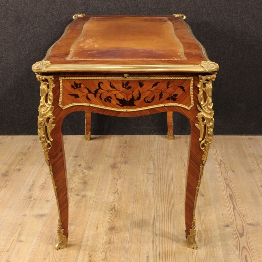 Antique French inlaid writing desk in rosewood from the early 20th century
