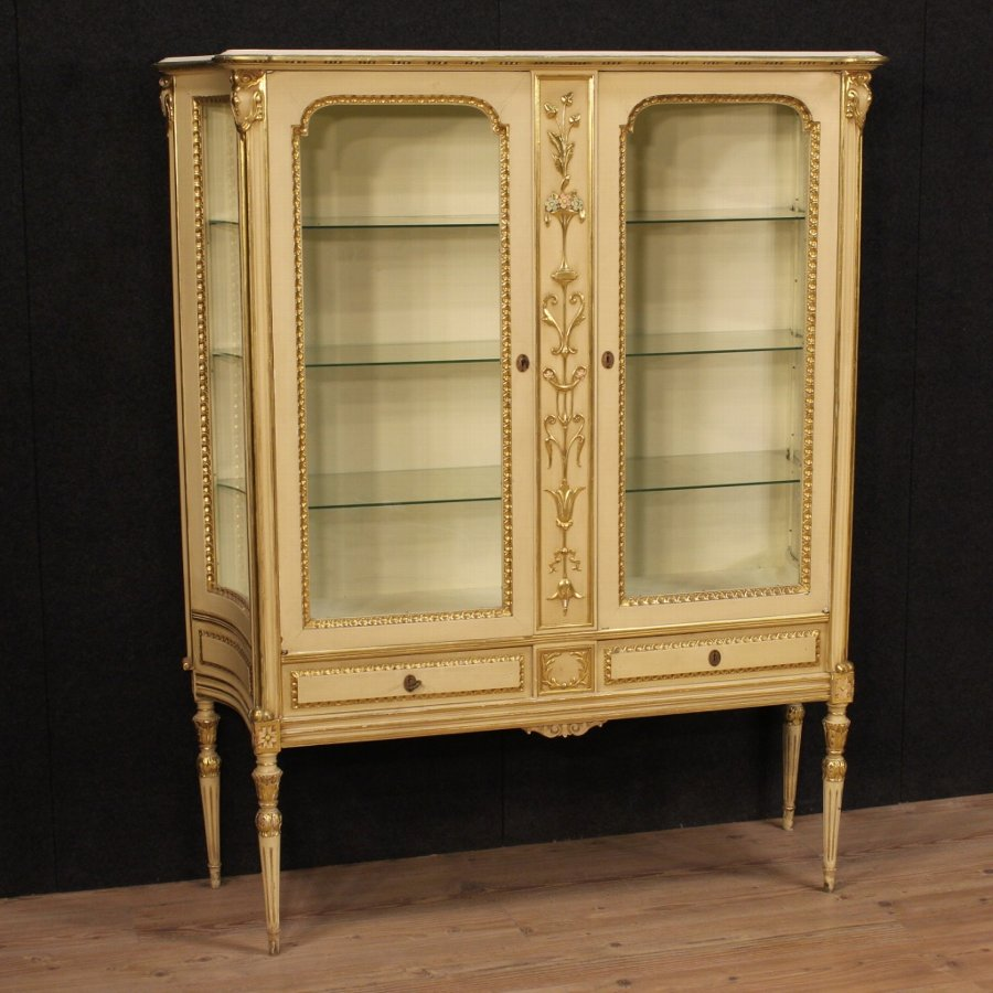 Antique Lacquered and gilded Italian Showcase