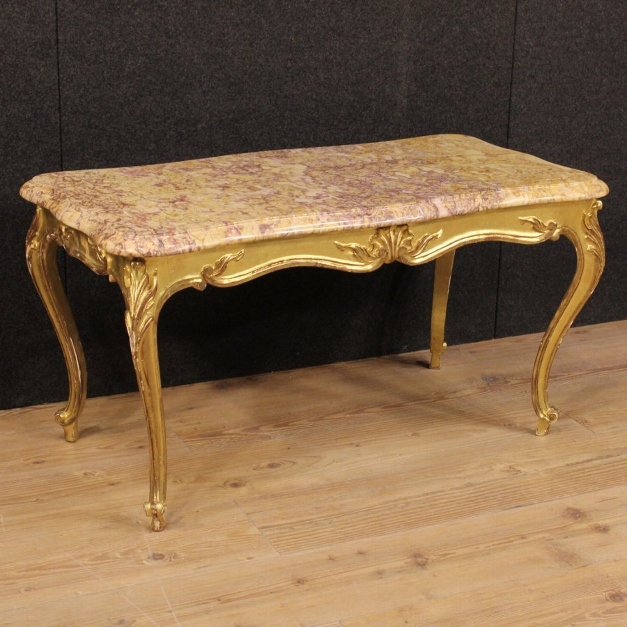 Antique French coffee table in gilded wood with marble top