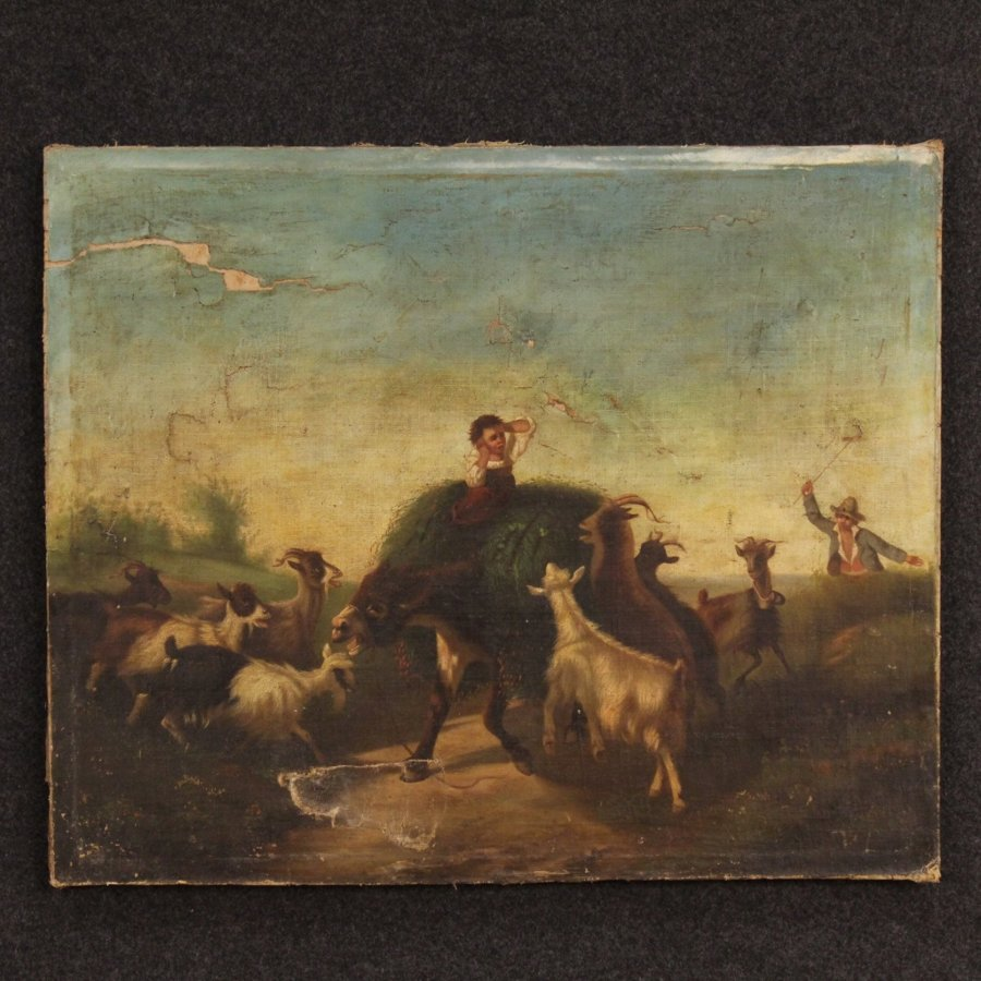 Antique Antique Italian country scene painting of the 19th century