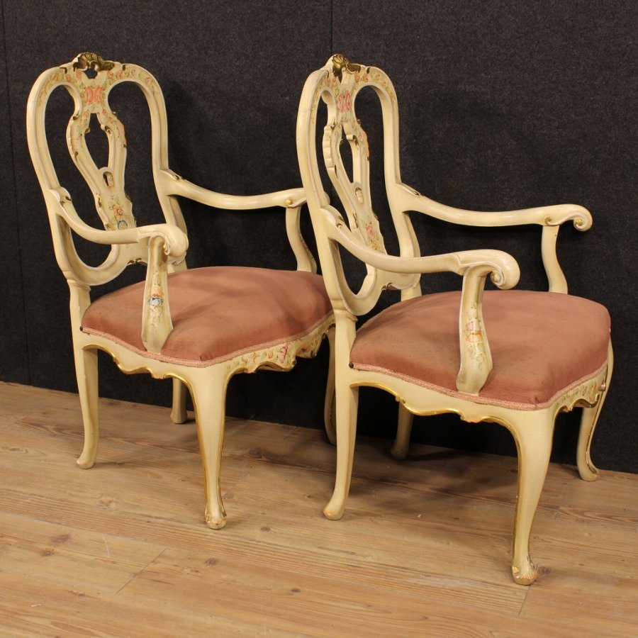 Antique Pair of lacquered, painted and gilded Venetian armchairs