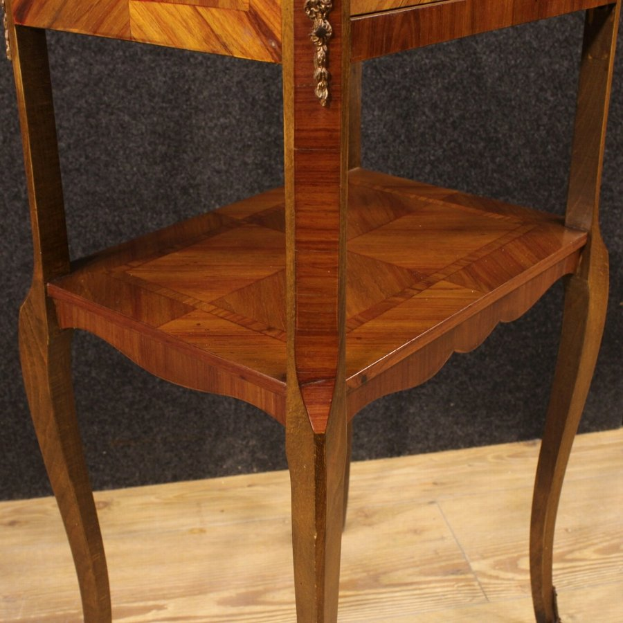 Antique French inlaid nightstand in rosewood and mahogany