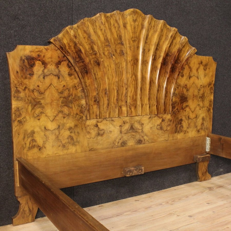 Antique Italian bed in burl walnut in Art Deco style