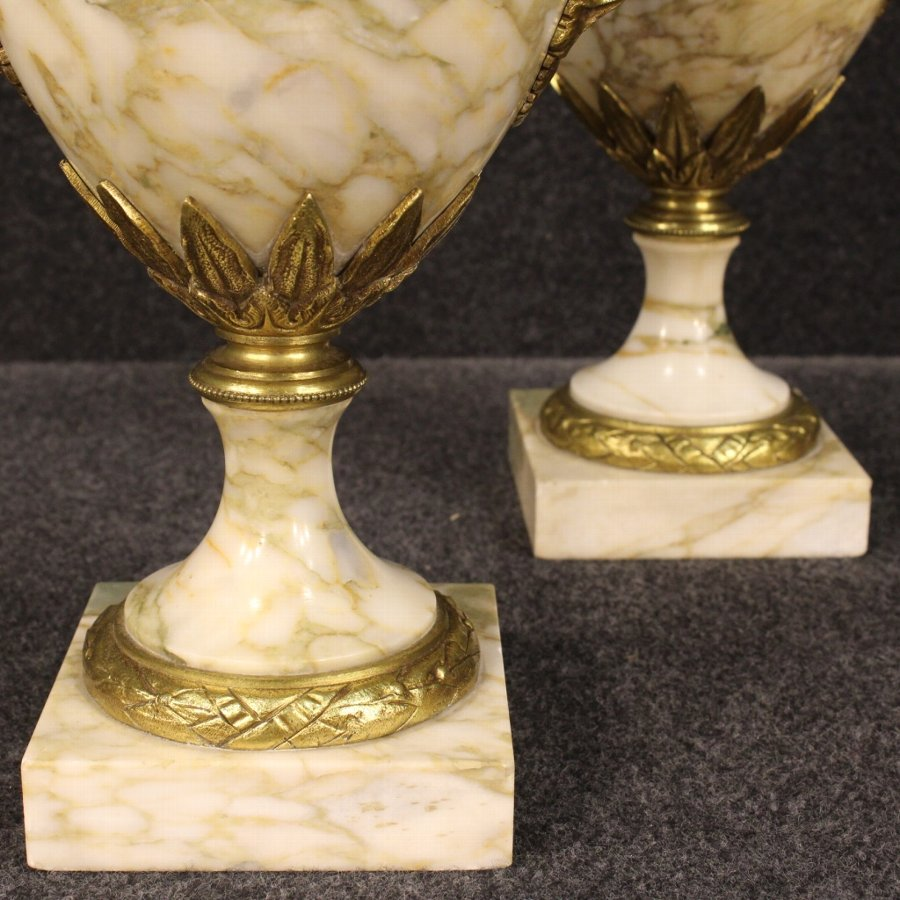 Antique Pair of French potish vases in marble with bronze decorations