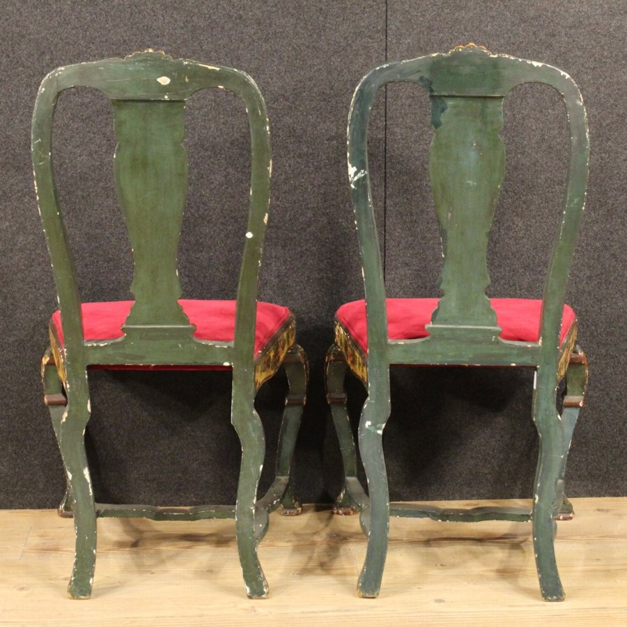 Antique Pair of lacquered and painted Venetian chairs with floral decorations