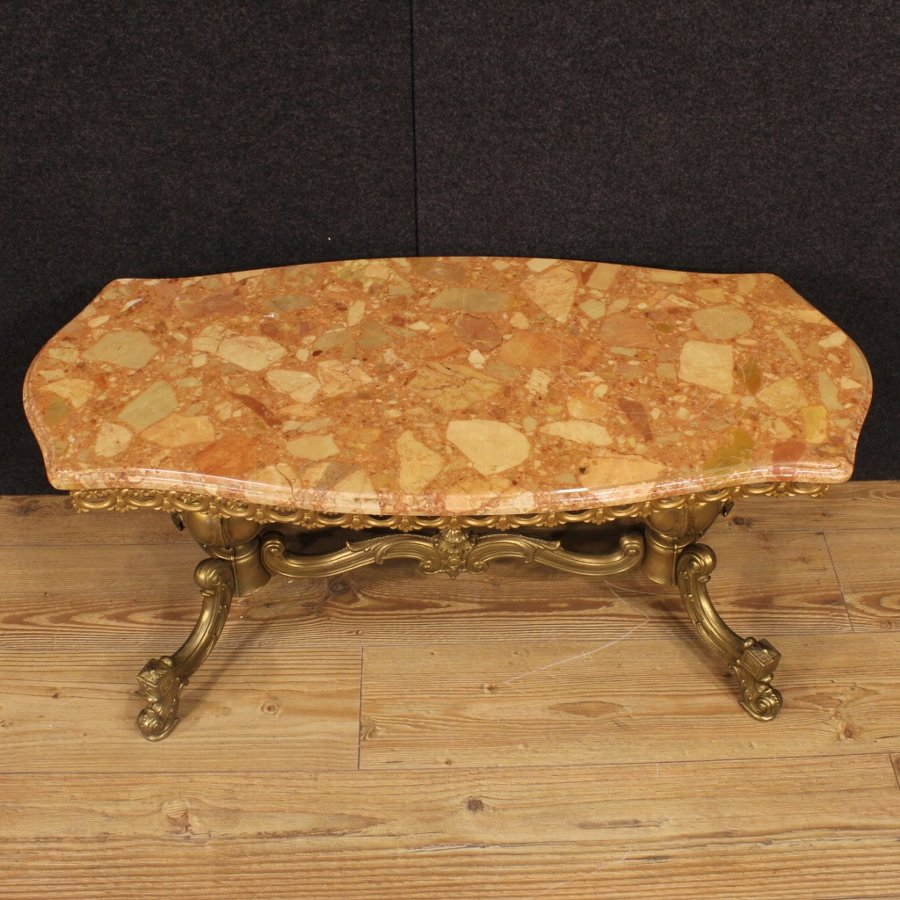Antique French coffee table in gilt metal with marble top