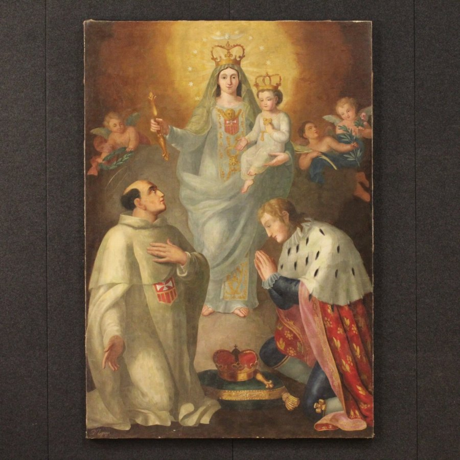 Antique Antique Italian painting Adoration of Madonna with Child of the early 19th century