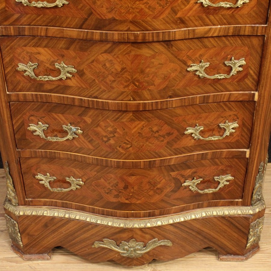 Antique French inlaid tallboy in rosewood with marble top
