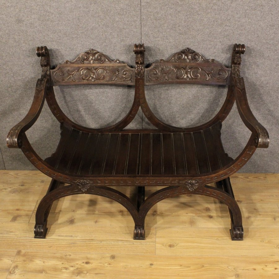 Antique French sofa carved in oak in Renaissance style