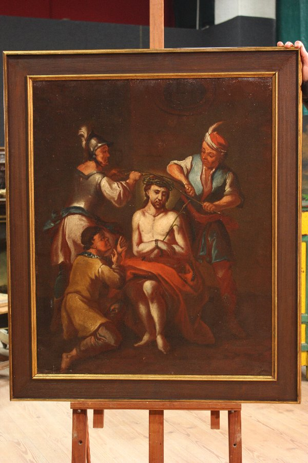Antique Antique religious painting Coronation of Christ from 18th century