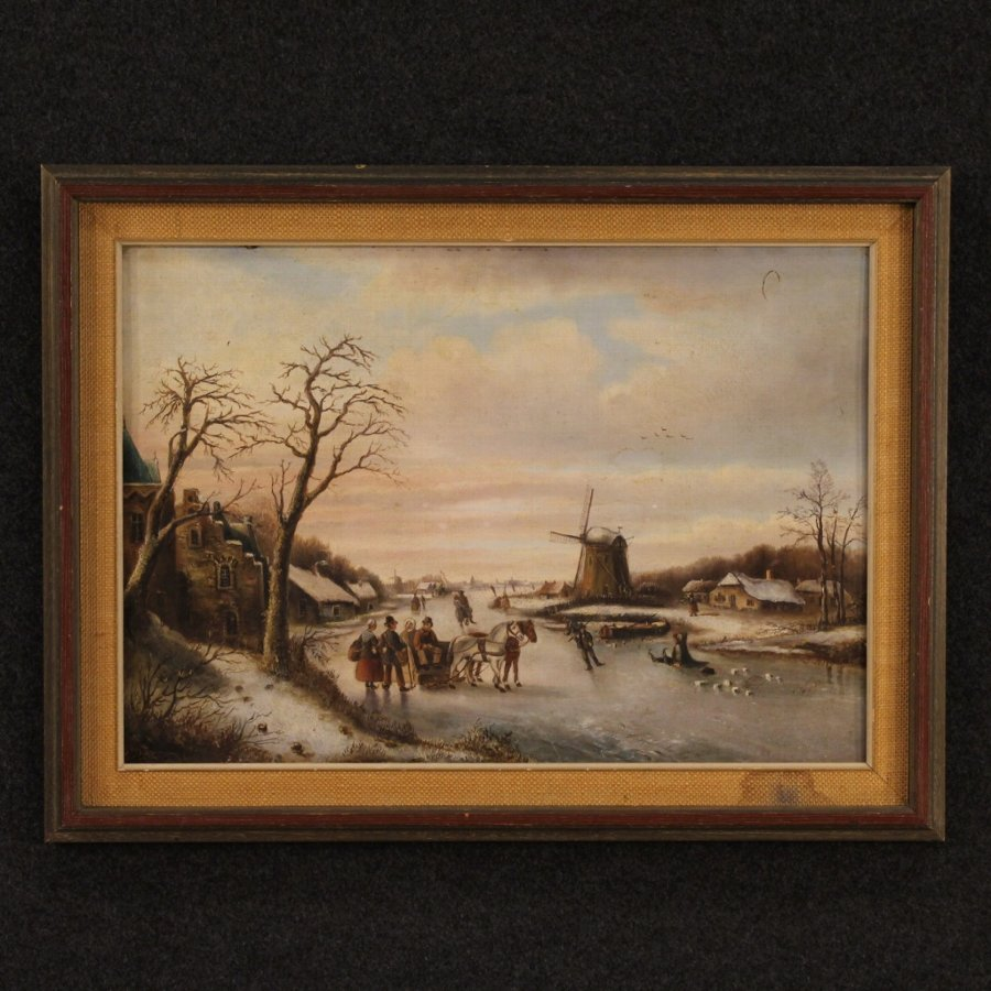 Antique Flemish painting depicting winter landscape of the 19th century