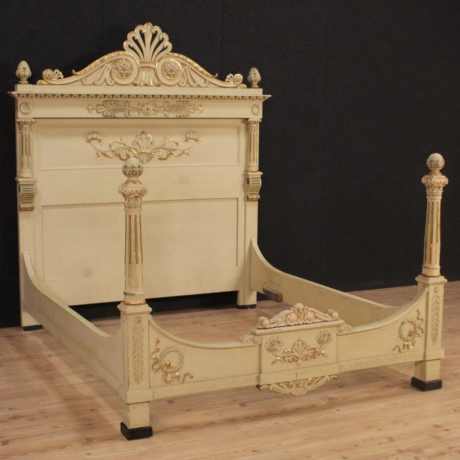 Lacquered and gilded double bed in Louis XVI style