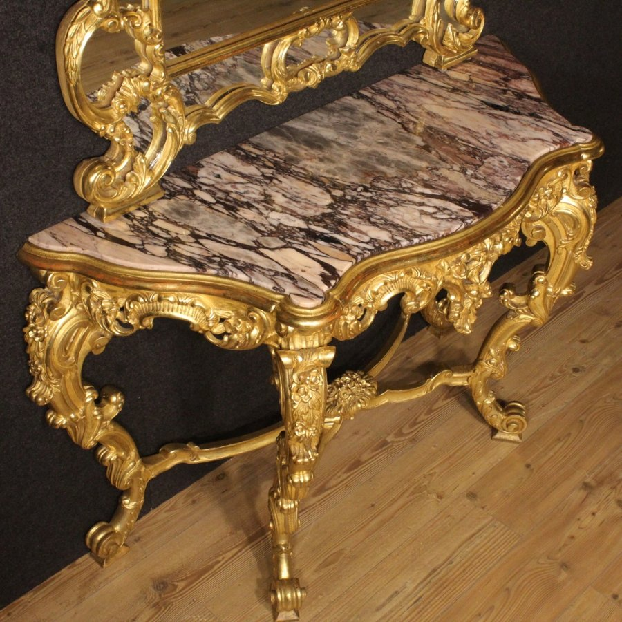 Antique Italian golden console table with mirror in Louis XV style