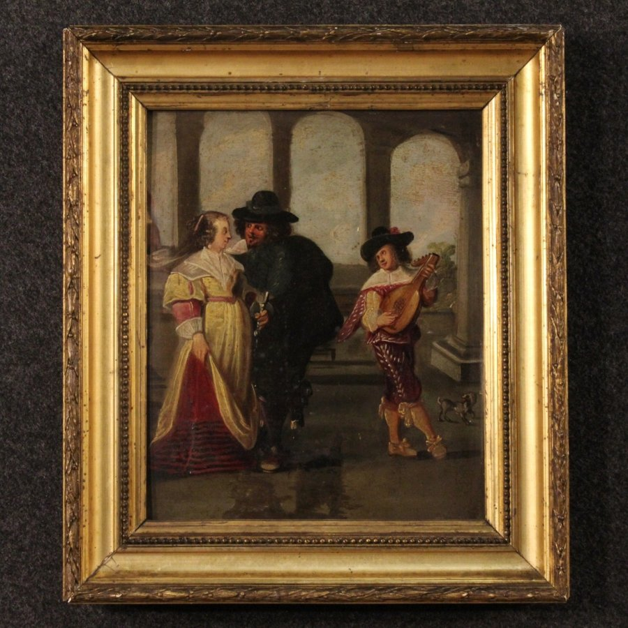 Antique Antique French painting gallant scene with musician from 19th century