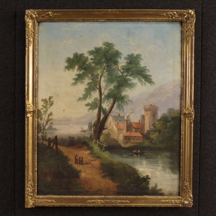 Antique landscape painting oil on canvas from 19th century