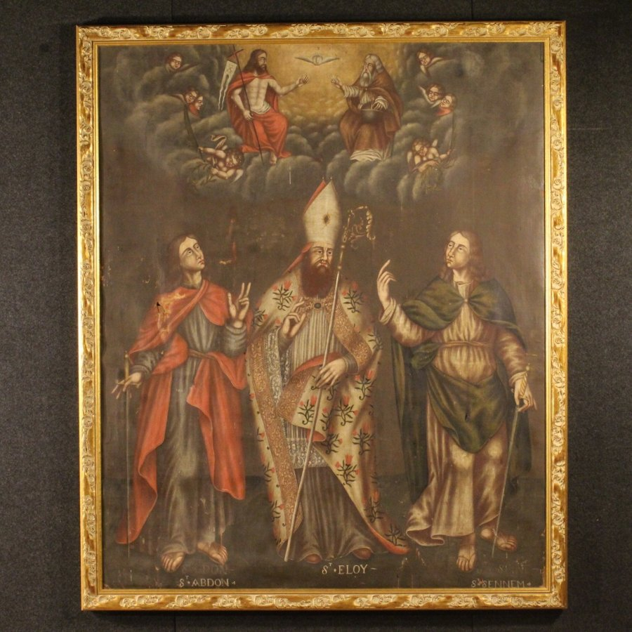 Antique French painting Adoration of Saints with little angels from 18th-century