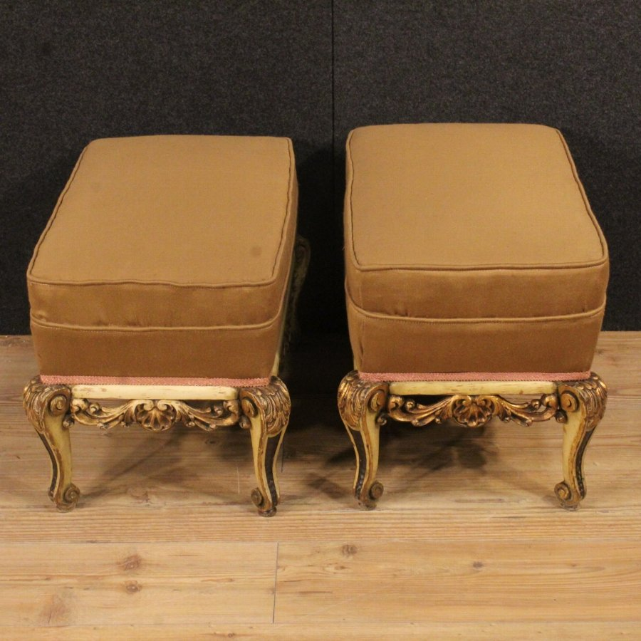 Antique Pair of lacquered and golden Spanish footstools