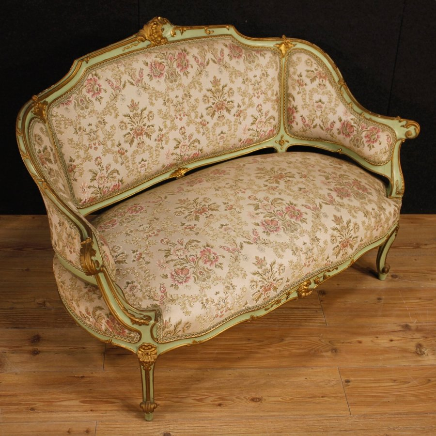 Antique Venetian lacquered and gilt sofa with floral fabric