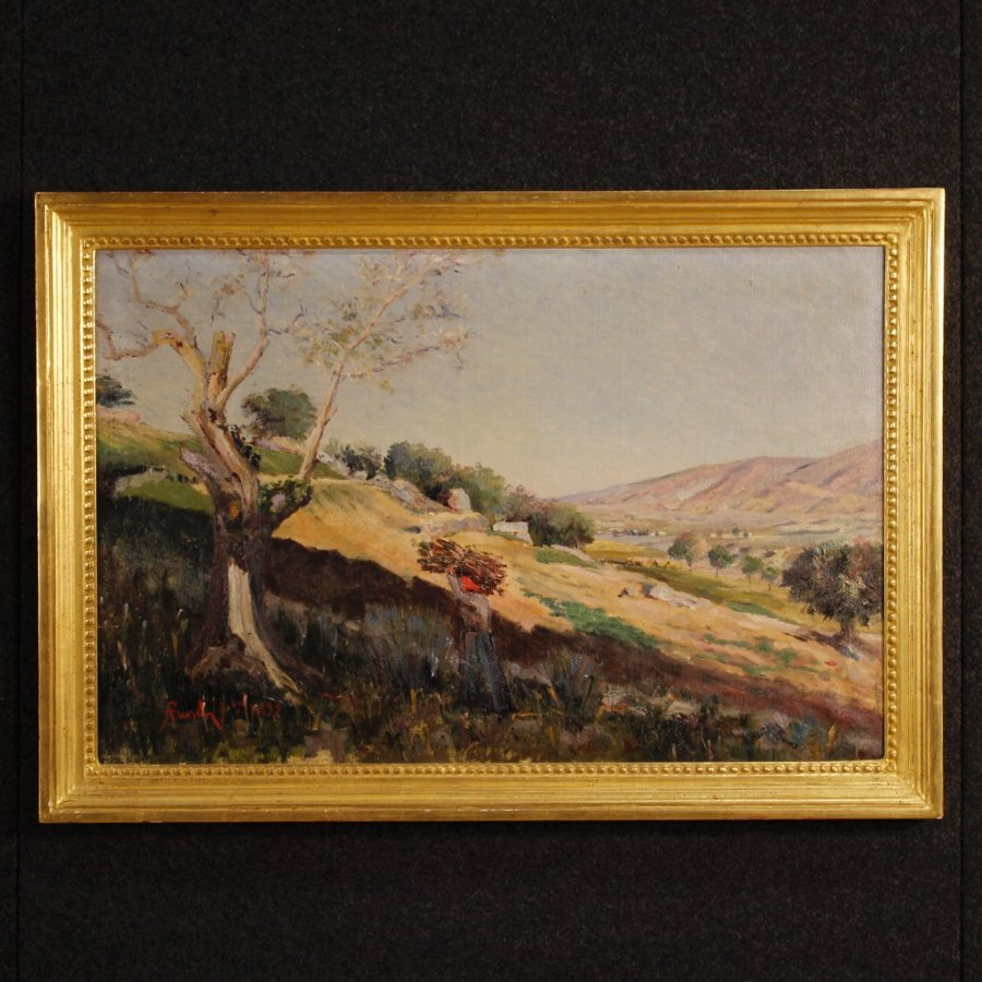Antique Italian painting countryside landscape signed and dated 1899
