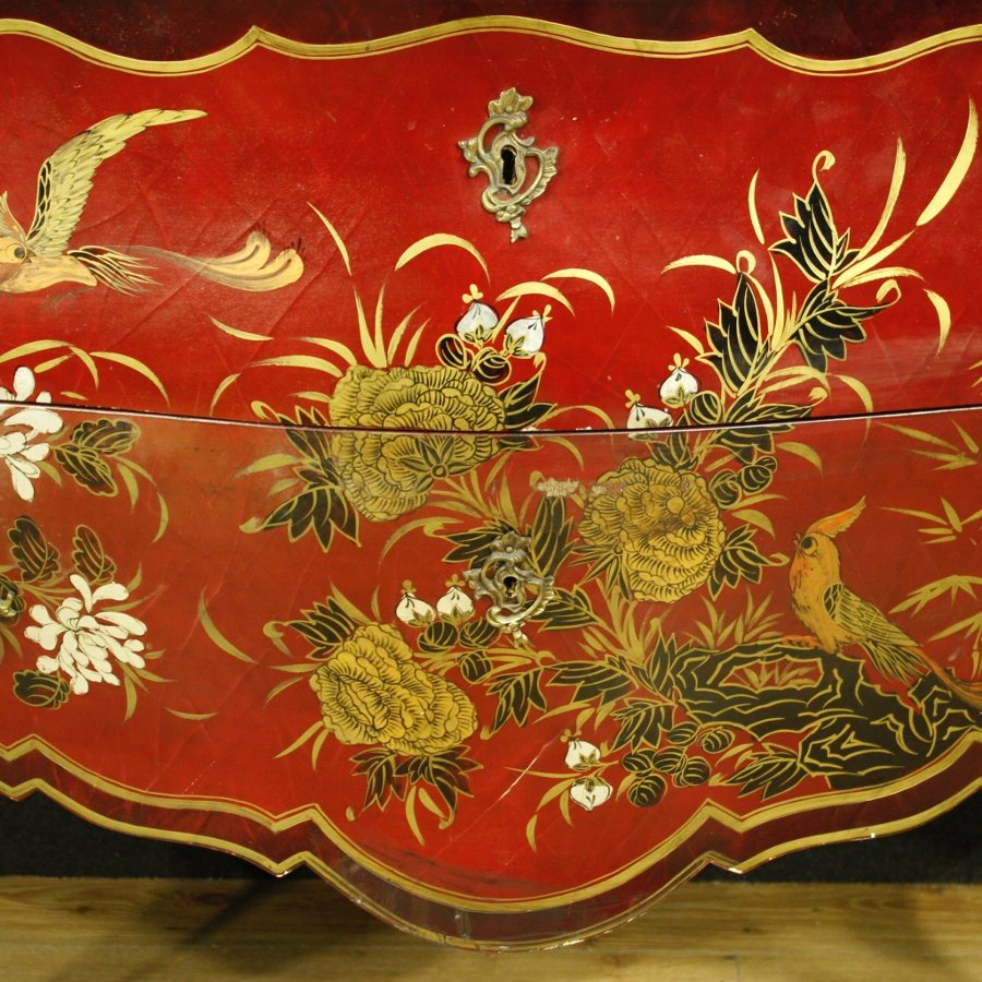 Antique French dresser in Louis XV style lacquered chinoiserie