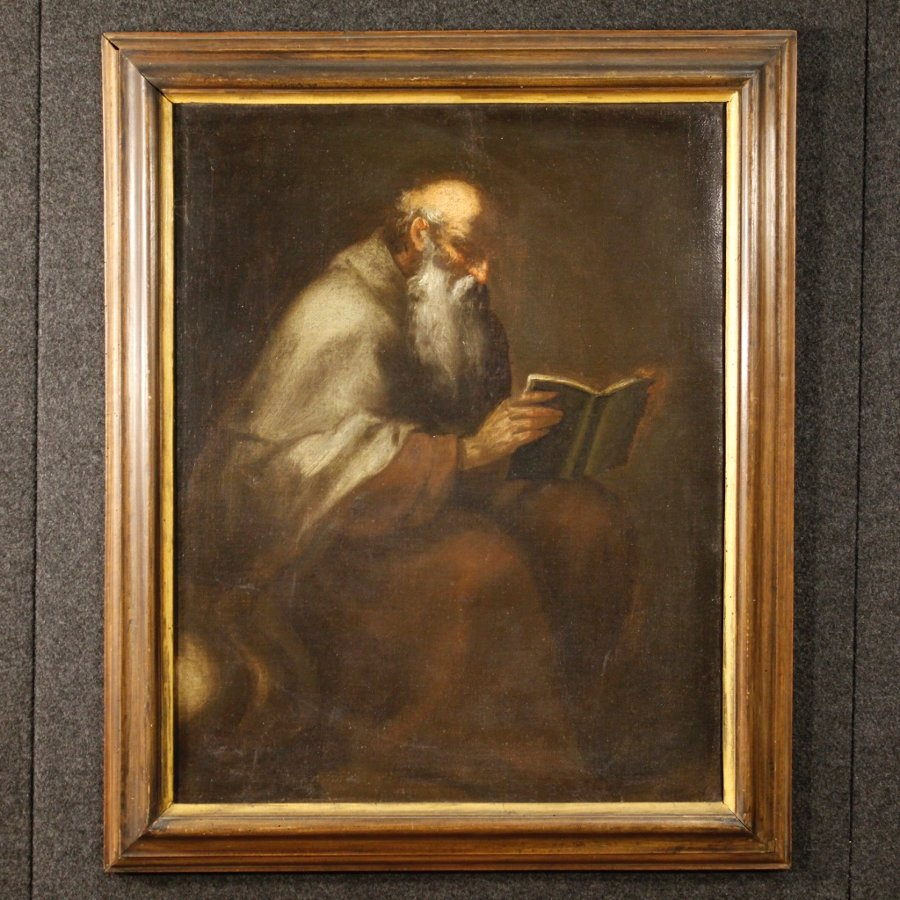 Antique religious painting Saint Jerome from 18th century