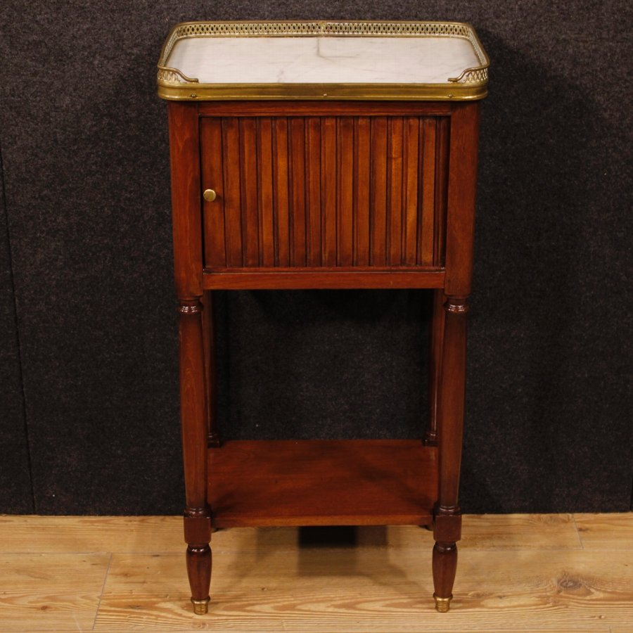 Antique French night stand in mahogany with marble top