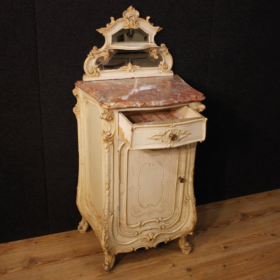 Antique Italian lacquered side table with marble top