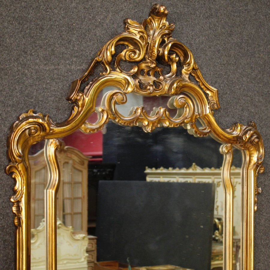 Antique Italian console table with mirror in golden wood