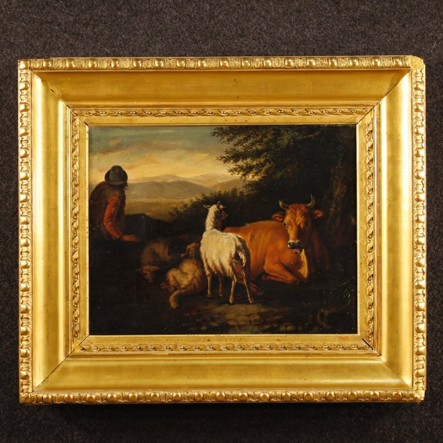 Antique French bucolic scene painting from 19th century