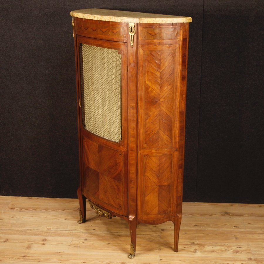 Antique Antique French inlaid vitrine with bronze from 19th century