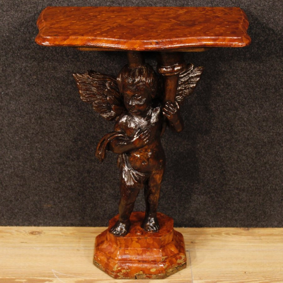 Antique Pair of lacquered side tables with little angels sculptures