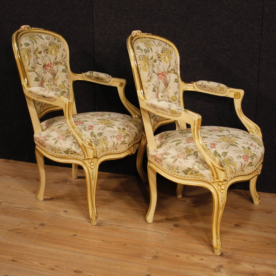 Antique Pair of lacquered and golden Italian armchairs