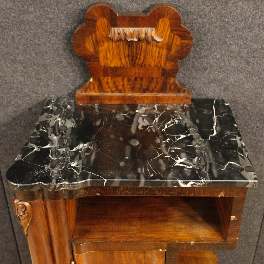 Antique Pair of Italian bedside tables in walnut with marble top