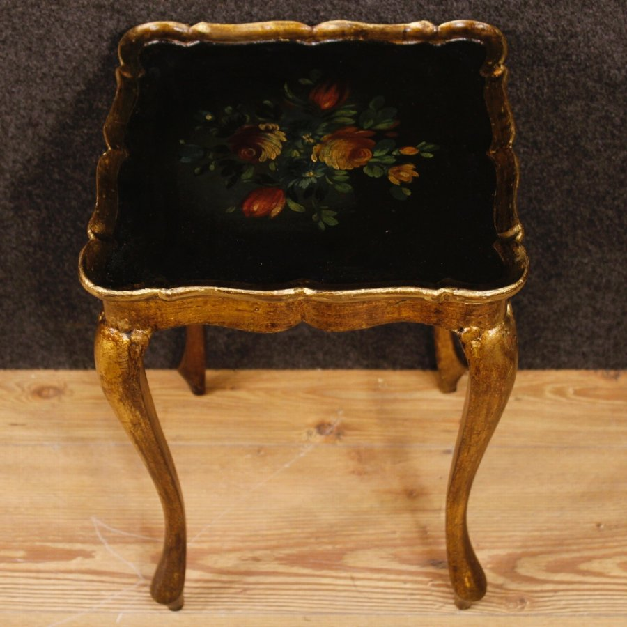 Antique Triptych of lacquered, golden and painted Italian coffee tables