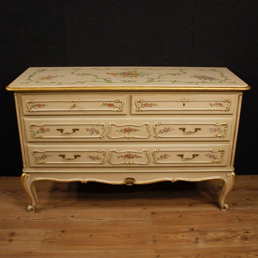 Antique Italian dresser in lacquered, golden and painted wood