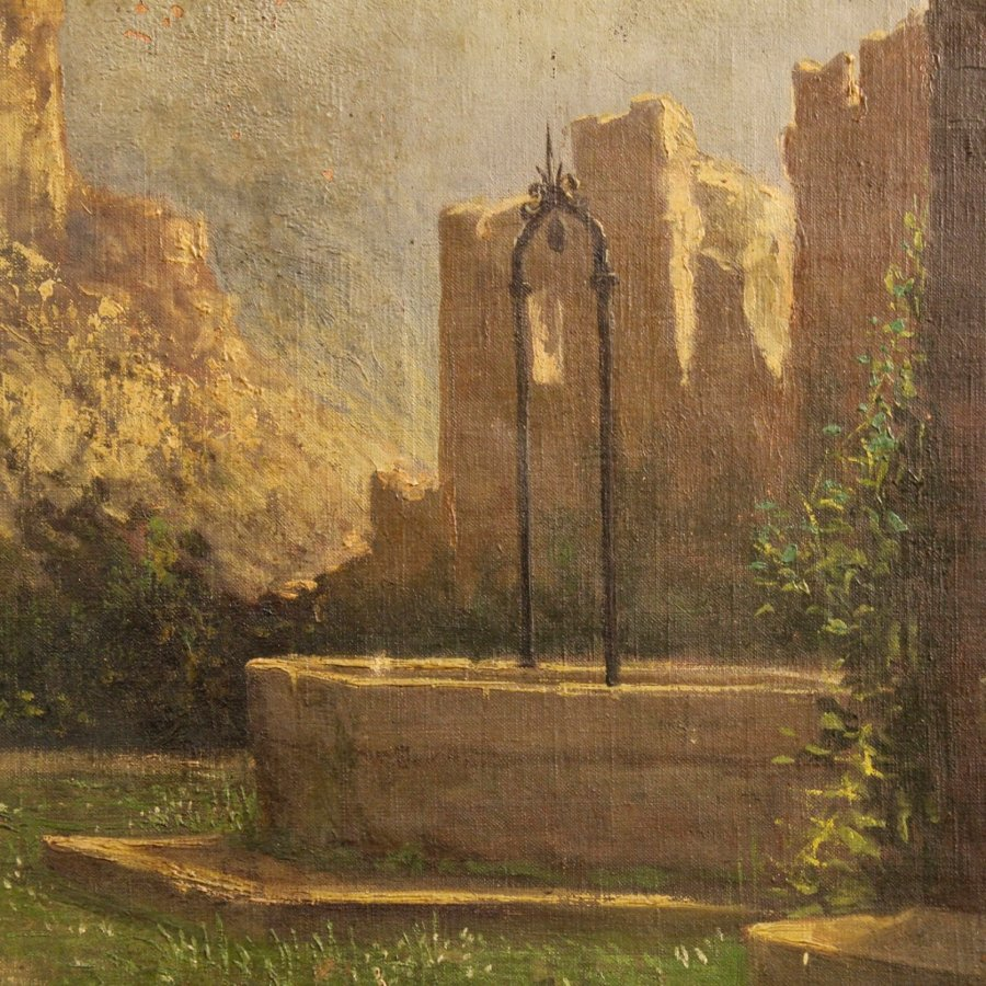 Antique Antique Italian painting landscape with ruins of the 19th century