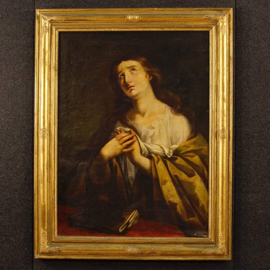 Antique French religious Painting  Mary Magdalene of the 19th century