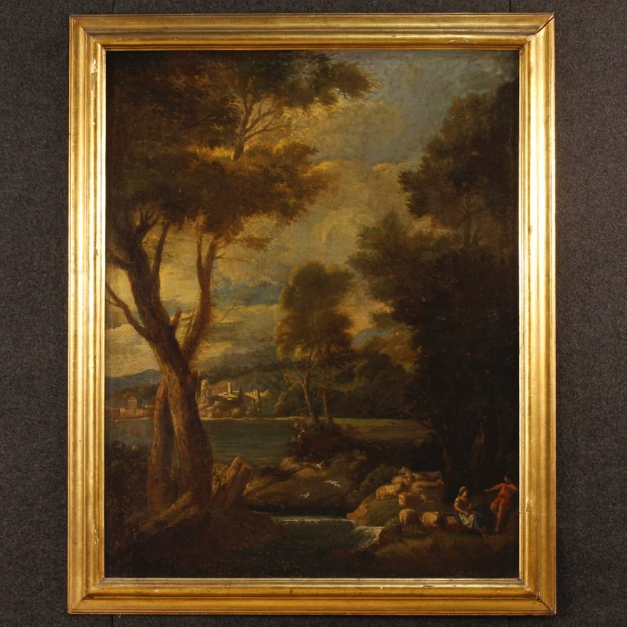 Antique Italian landscape painting oil on canvas from the 19th century